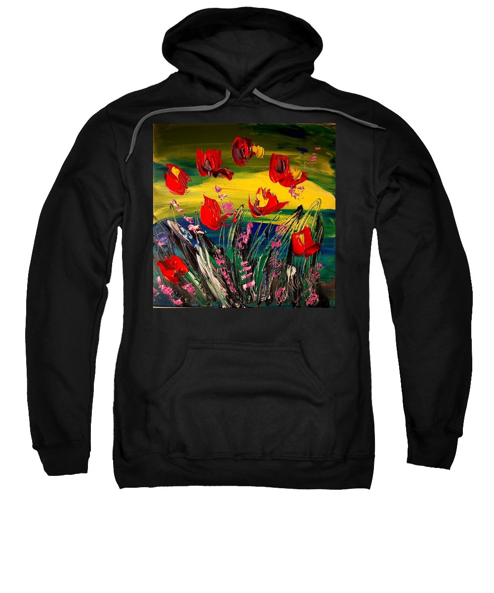 Landscape Framed Prints Sweatshirt featuring the painting Tulips by Mark Kazav