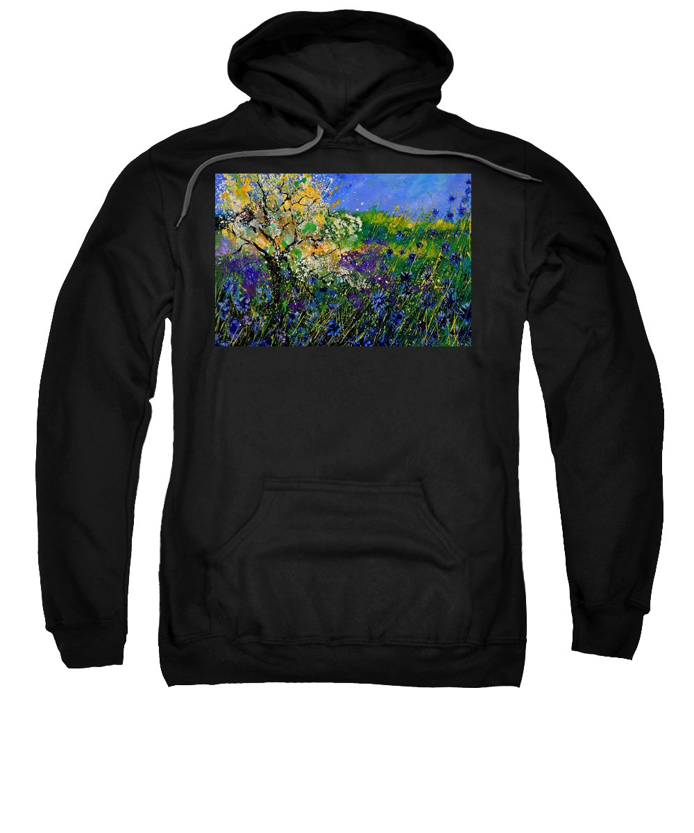 Flowers Sweatshirt featuring the painting Blue Cornflowers by Pol Ledent