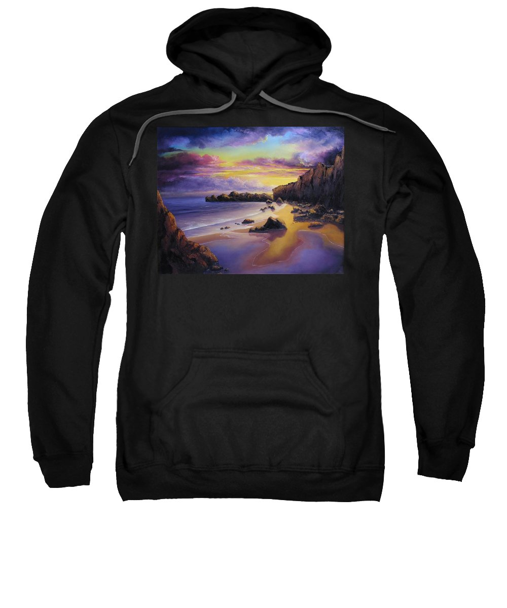 Sunset Seascapes Sweatshirt featuring the painting Golden Sunset by John Cocoris