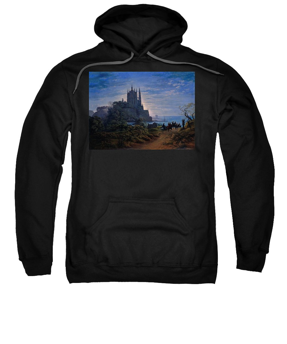 Gothic Sweatshirt featuring the painting Gothic Church On A Rock By The Sea by Karl Friedrich Schinkel