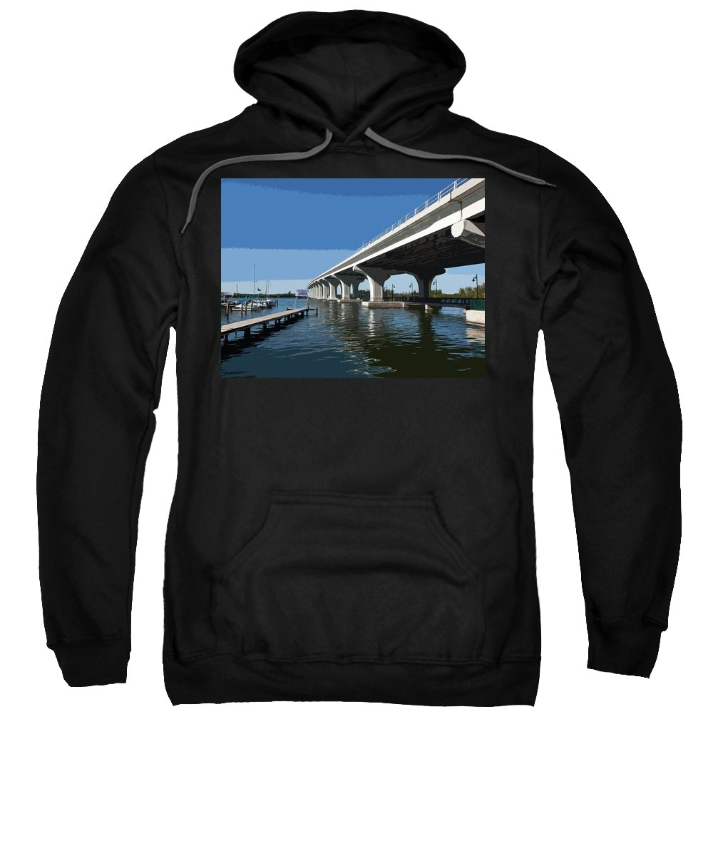 Florida Sweatshirt featuring the painting Indian River Lagoon At Vero Beach In Florida by Allan Hughes
