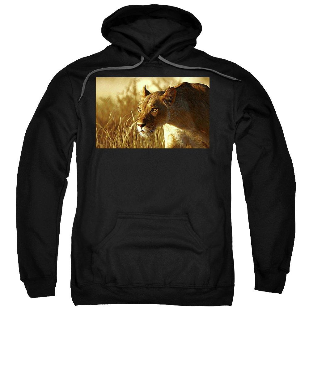 Lioness Sweatshirt featuring the digital art Lioness by Nadezhda Zhuravleva