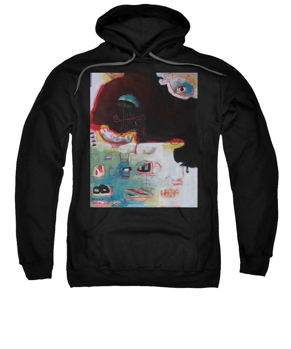Abstract Paintings Sweatshirt featuring the painting Little Bay by Seon-Jeong Kim