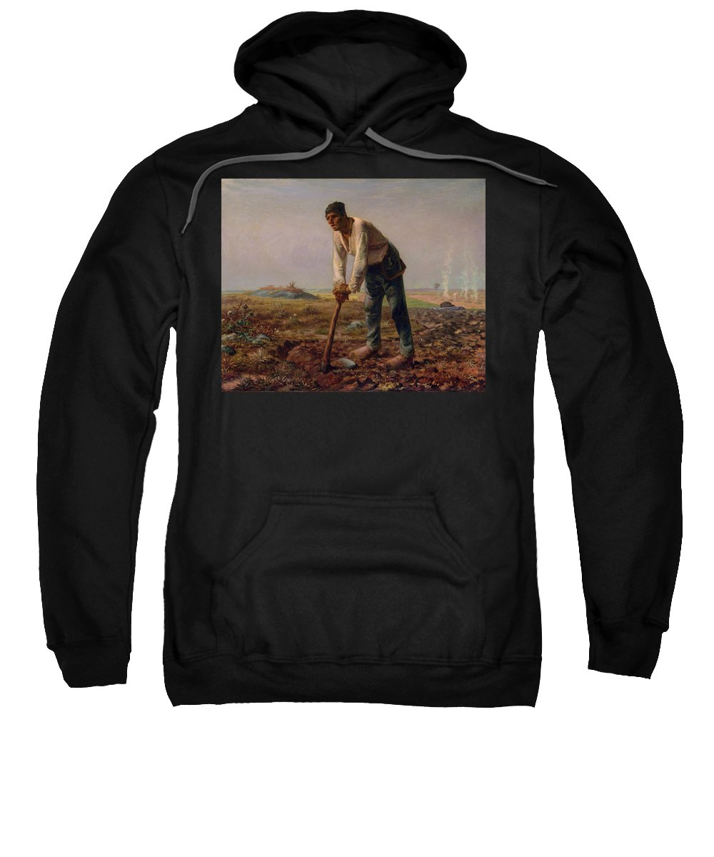 Barbizon School Sweatshirt featuring the painting Man With A Hoe by Jean-Francois Millet