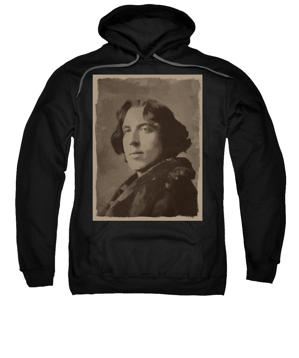 Oscar Wilde Sweatshirt featuring the painting Oscar Wilde 2 by Afterdarkness
