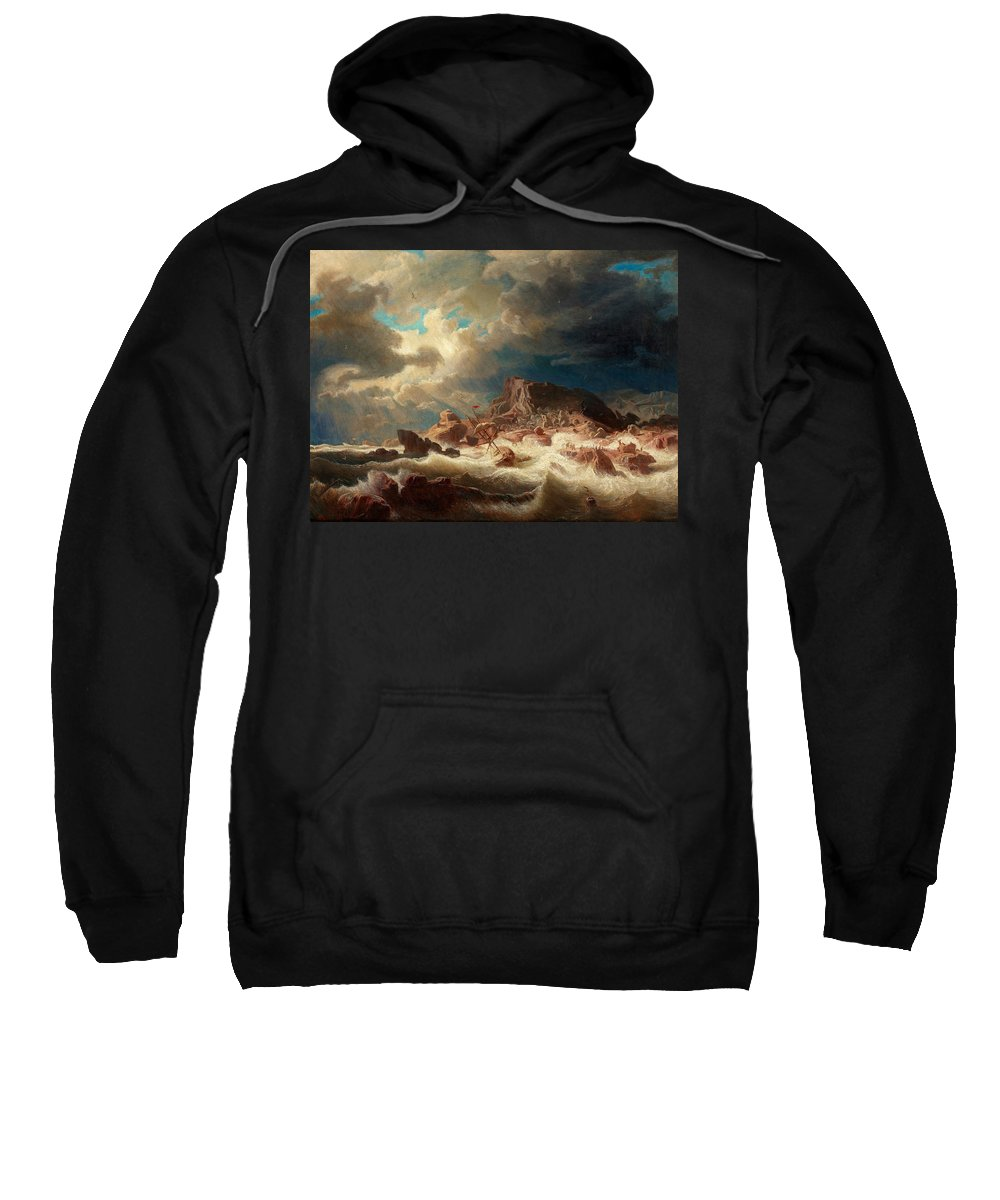 Marcus Larson 1825-1864 Stormy Sea With Ship Wreck Sweatshirt featuring the painting Stormy Sea With Ship Wreck by MotionAge Designs