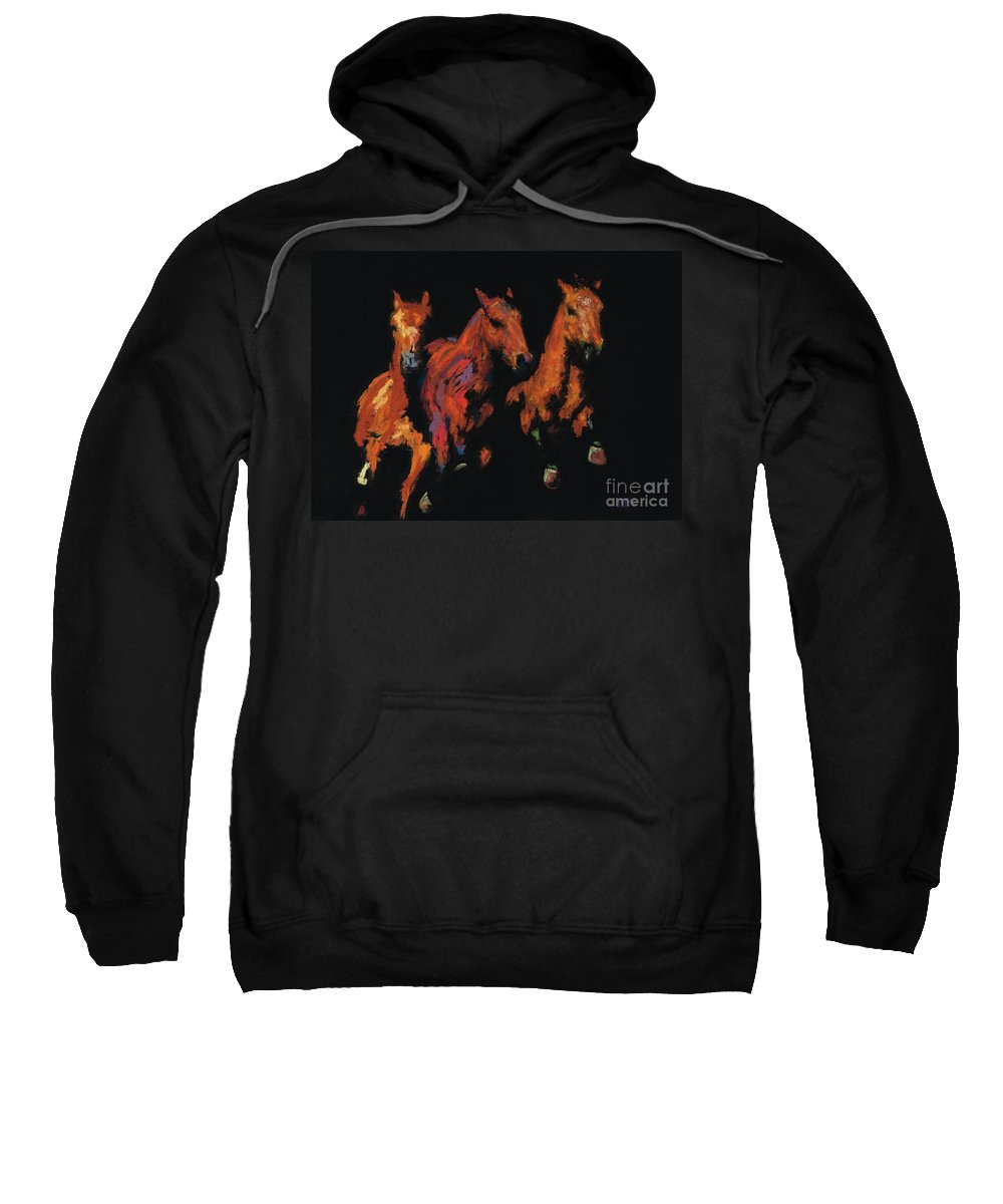 Horses Sweatshirt featuring the painting The Competitive Edge by Frances Marino