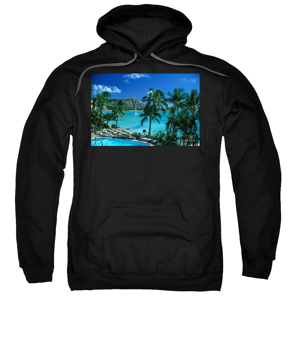 Afternoon Sweatshirt featuring the photograph Waikiki And Diamond Head by Tomas del Amo - Printscapes