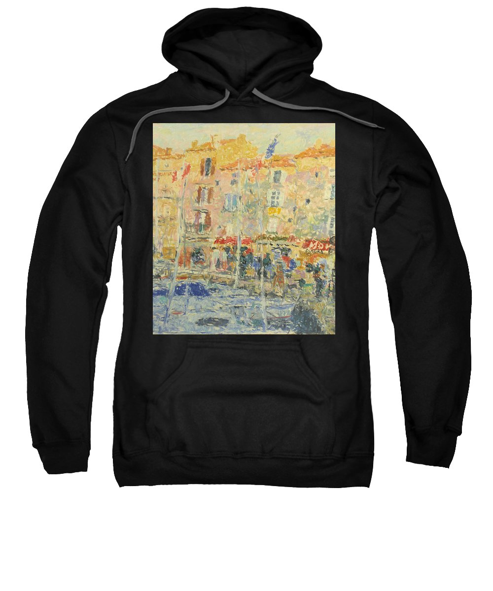 Bay Sweatshirt featuring the painting Yachts by Robert Nizamov