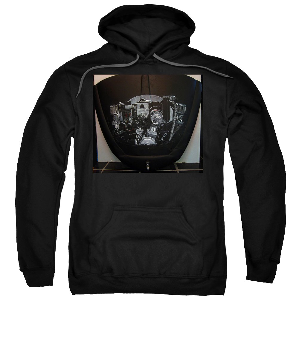 Vw Sweatshirt featuring the painting 356 Porsche Engine On A Vw Cover by Richard Le Page
