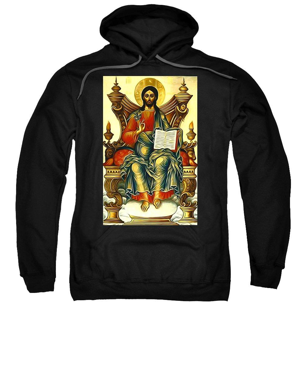 Jesus Sweatshirt featuring the digital art Jesus Christ God by Carol Jackson