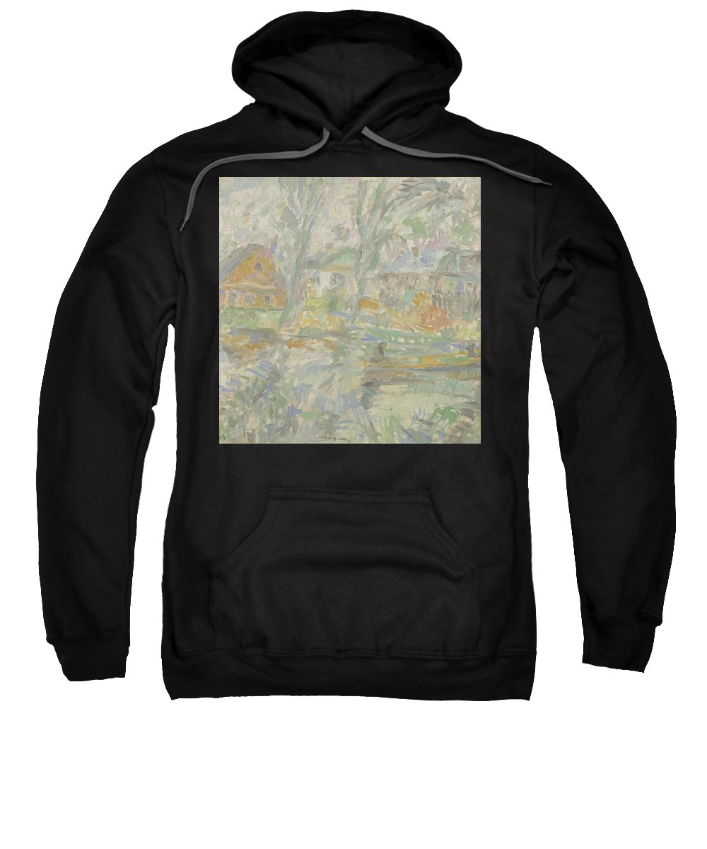 Bay Sweatshirt featuring the painting River by Robert Nizamov
