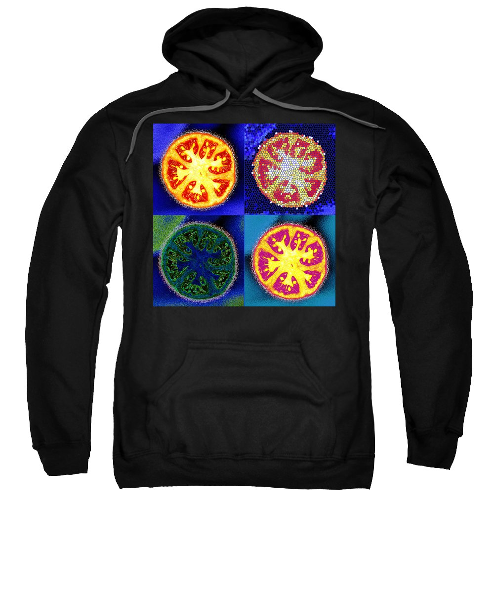Tomatoes Sweatshirt featuring the photograph 4 Abstract Tomatoes by Nancy Mueller