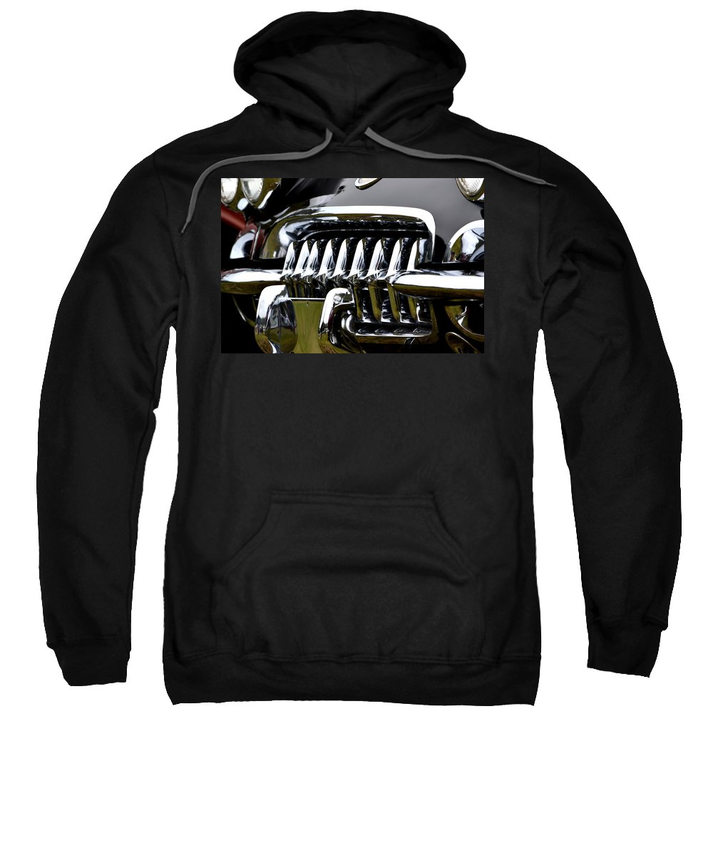 Sweatshirt featuring the photograph Black Corvette by Dean Ferreira