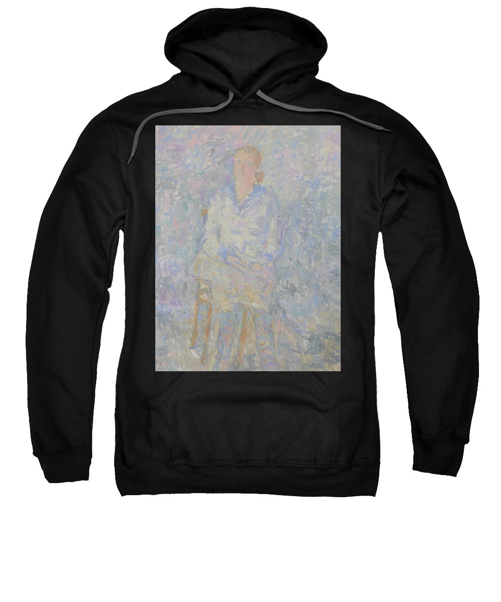 Person Sweatshirt featuring the painting Portrait by Robert Nizamov