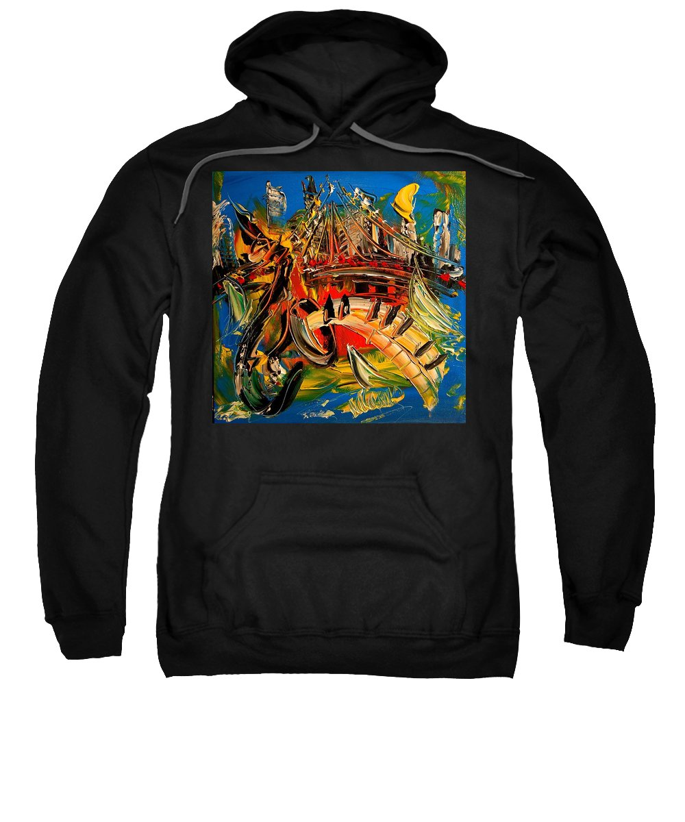 Surreal Framed Prints Sweatshirt featuring the painting SAX by Mark Kazav