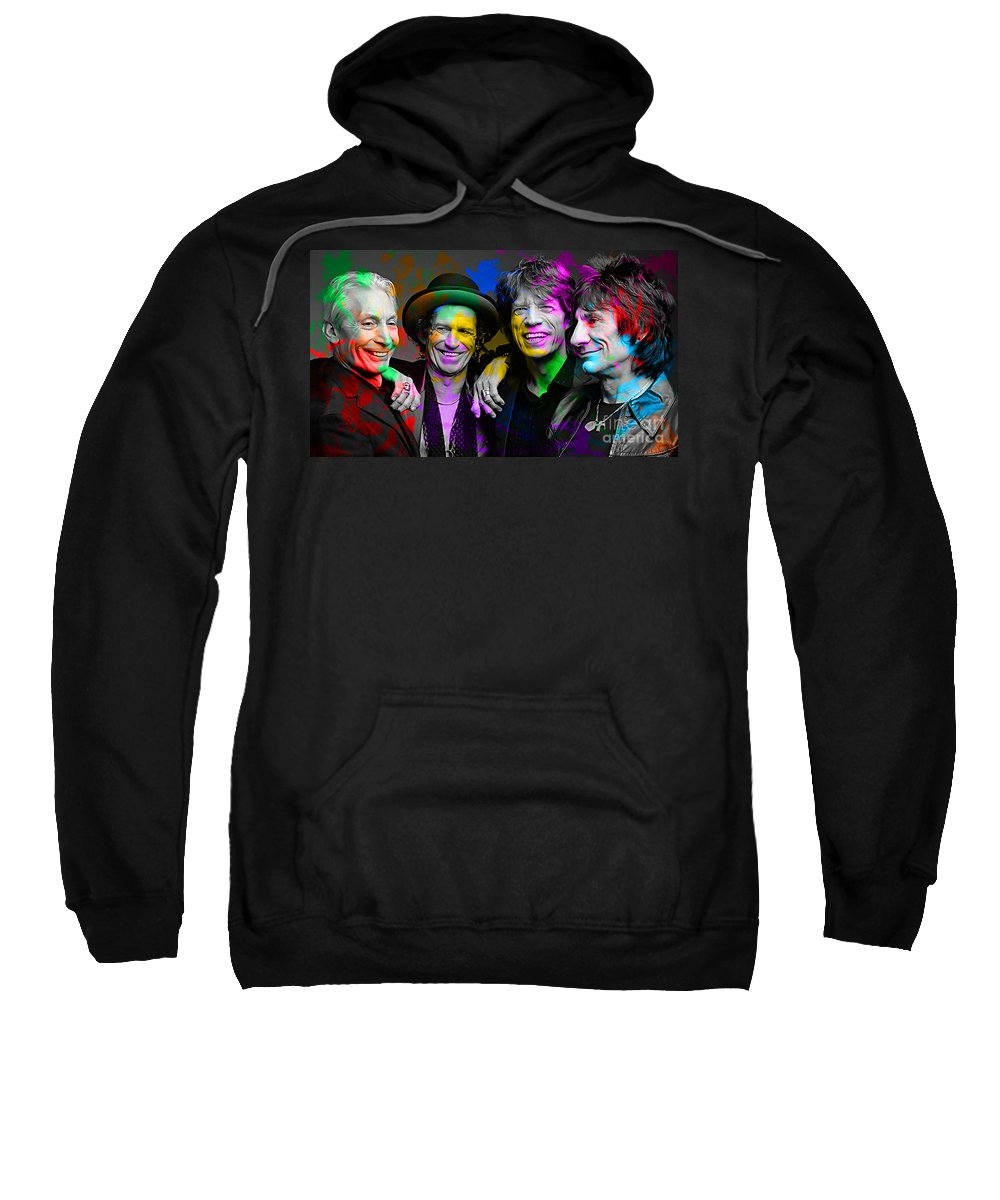 Rolling Digital Art Sweatshirt featuring the digital art The Rolling Stones by Marvin Blaine