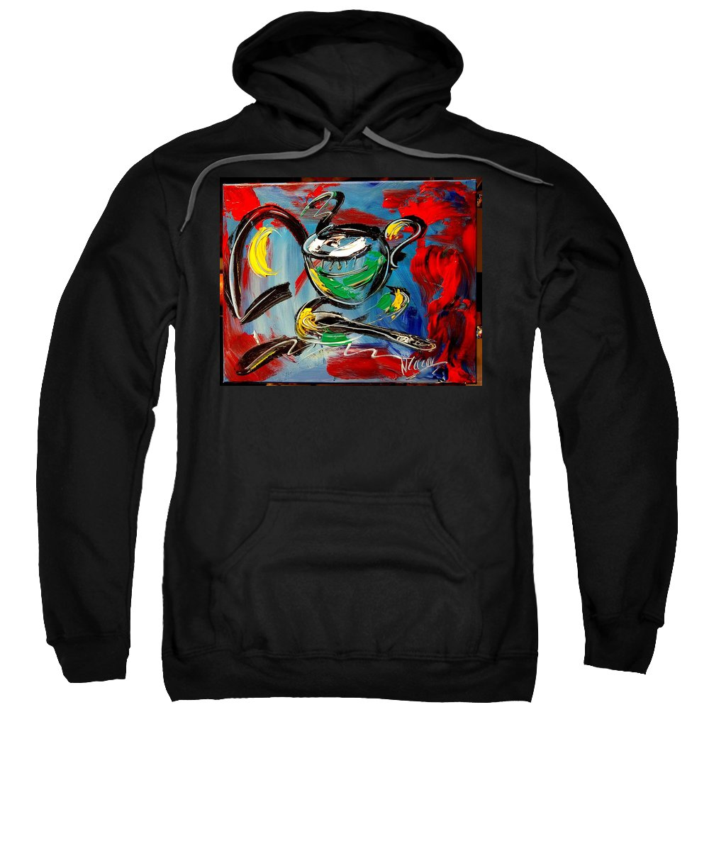 Landscape Framed Prints Sweatshirt featuring the painting Coffee by Mark Kazav