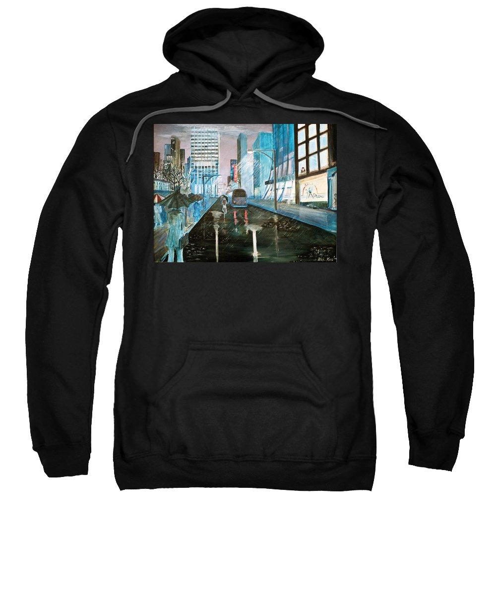 Street Scape Sweatshirt featuring the painting 42nd Street Blue by Steve Karol