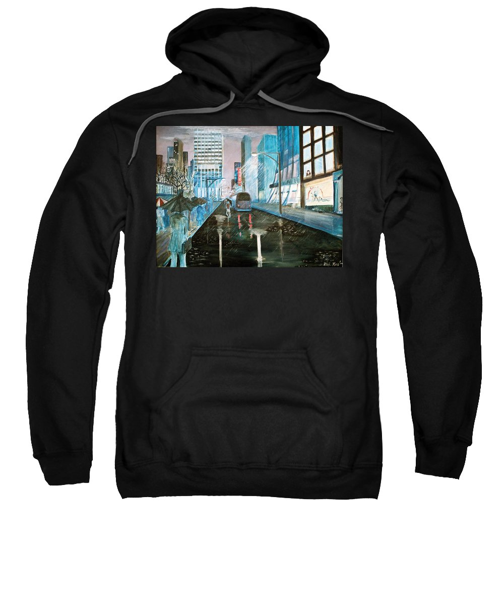 Street Scape Sweatshirt featuring the painting 42nd Street Blue by Steve Karol