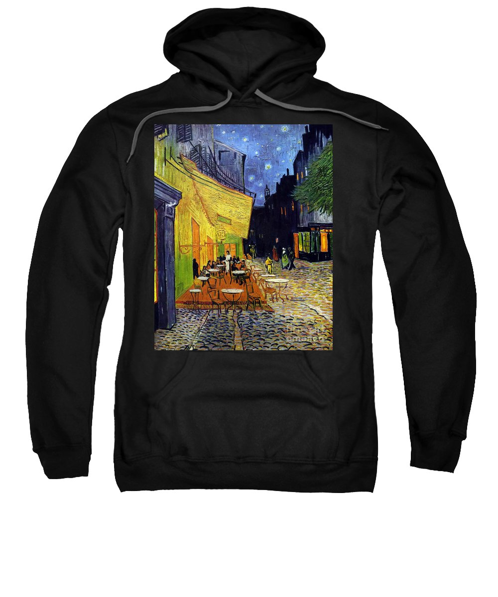 Van Gogh Sweatshirt featuring the painting Cafe Terrace At Night by Starry Night
