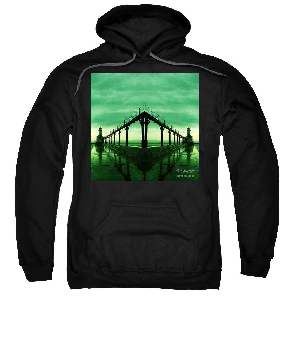 Michigan Sweatshirt featuring the photograph Lighthouse Reflections by Scott D Van Osdol