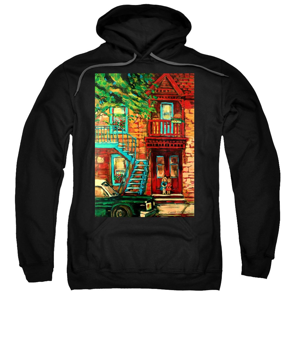 Montreal Paintings Sweatshirt featuring the painting Montreal Paintings by Carole Spandau