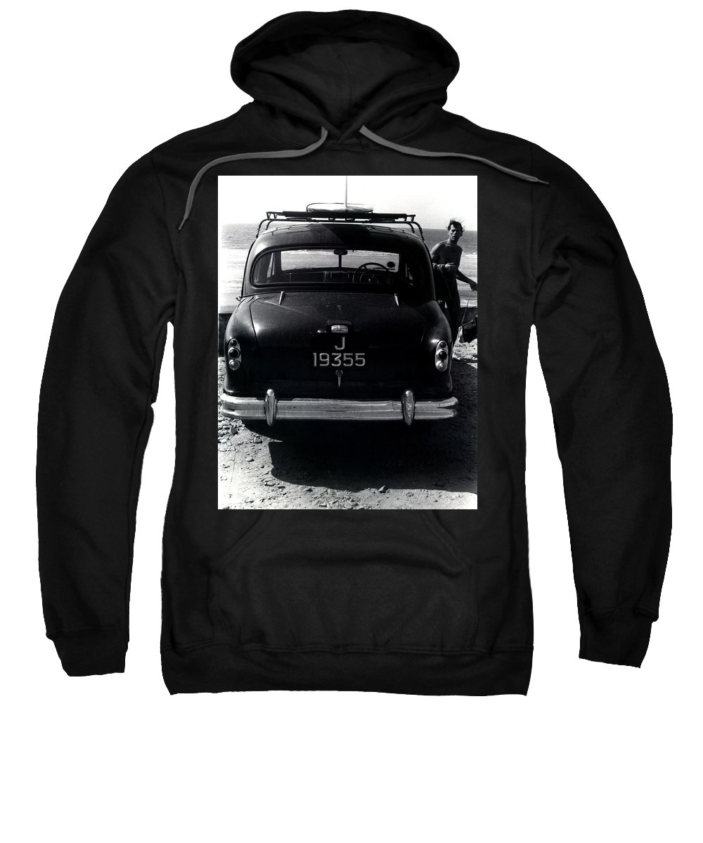 Surf Sweatshirt featuring the photograph 50's Surfer by Charles Stuart