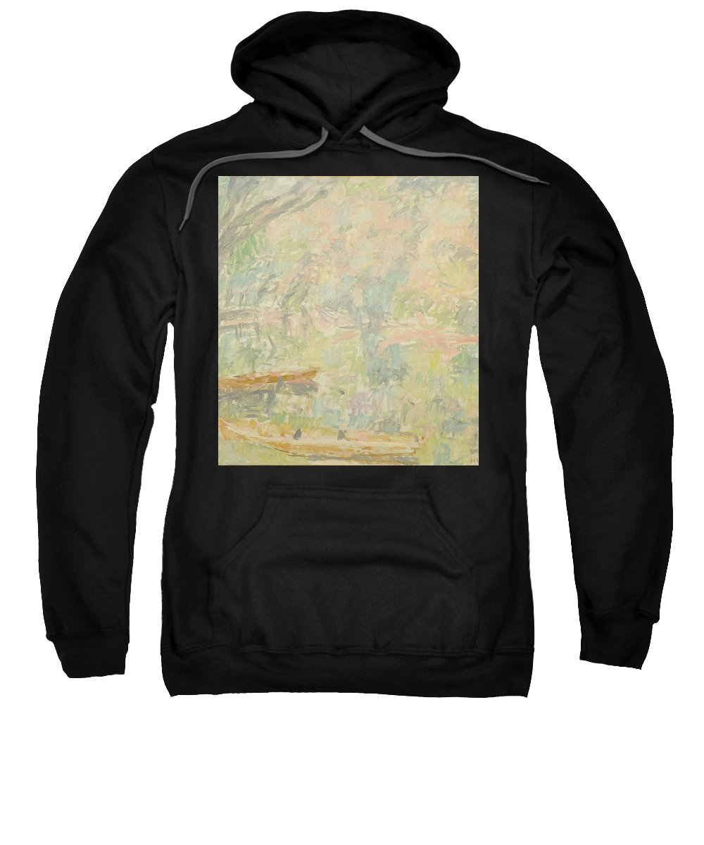 Bay Sweatshirt featuring the painting River by Robert Nizamov