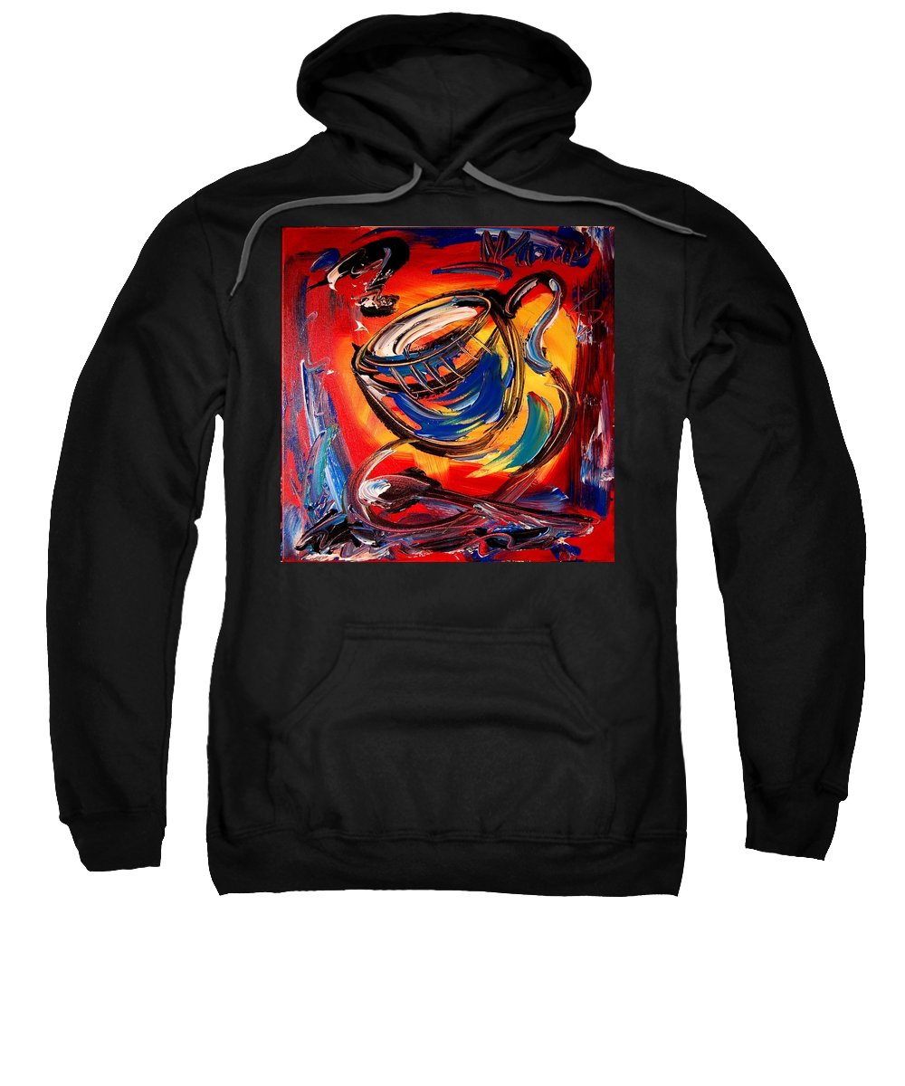 Coffeee Sweatshirt featuring the painting Coffee by Mark Kazav