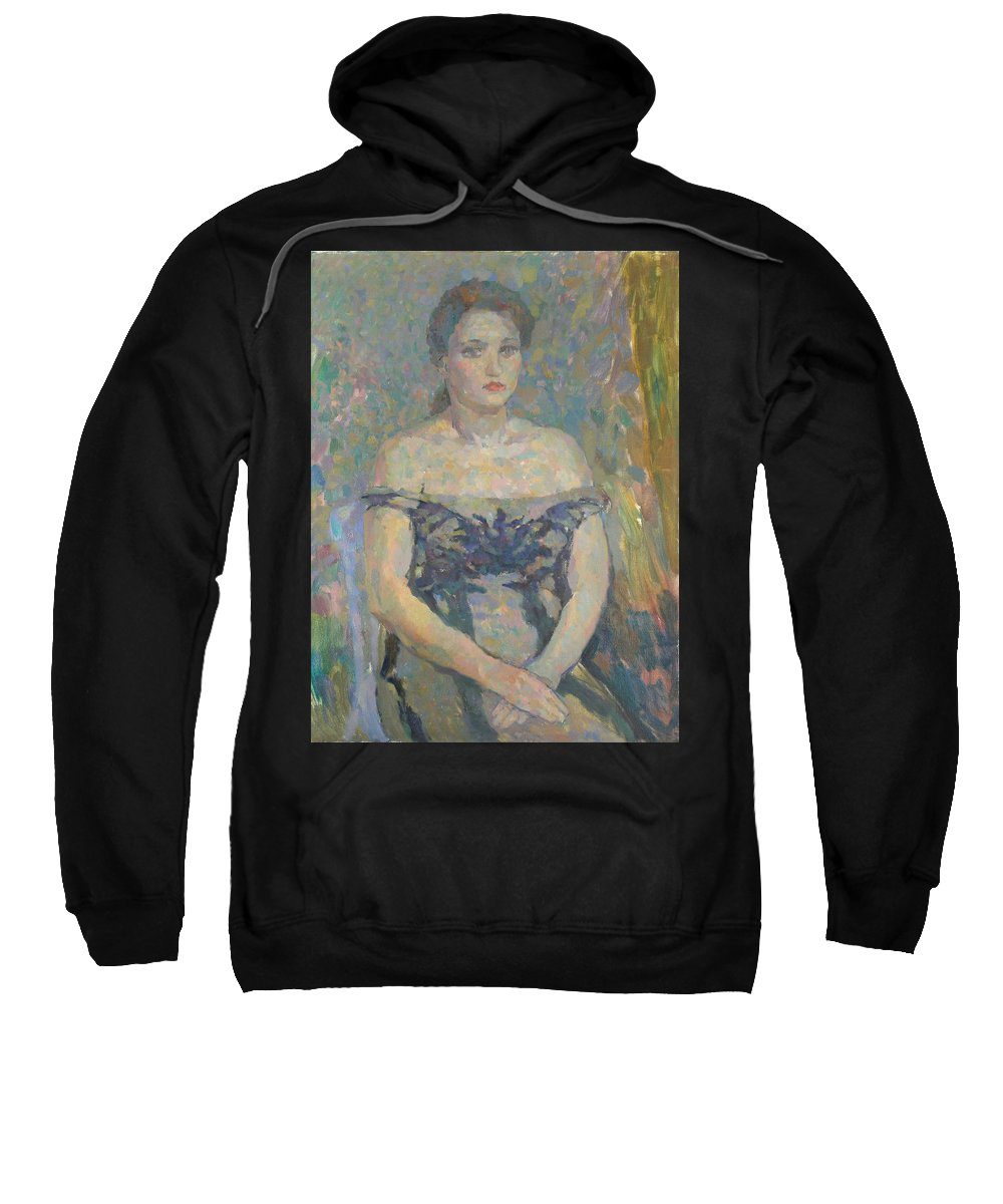 Beauty Sweatshirt featuring the painting Portrait by Robert Nizamov