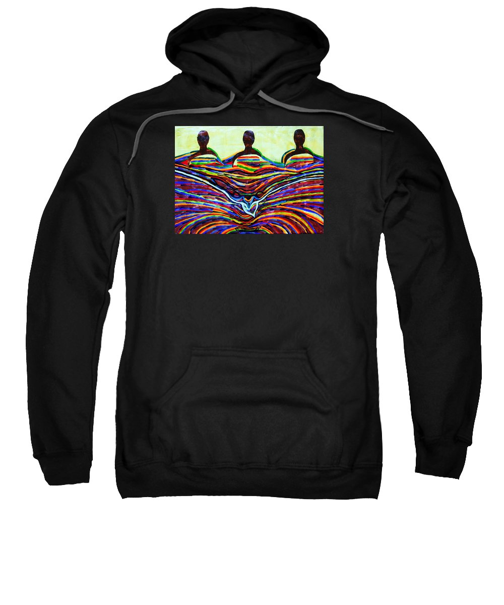 Jesus Sweatshirt featuring the painting The Holy Trinity by Gloria Ssali