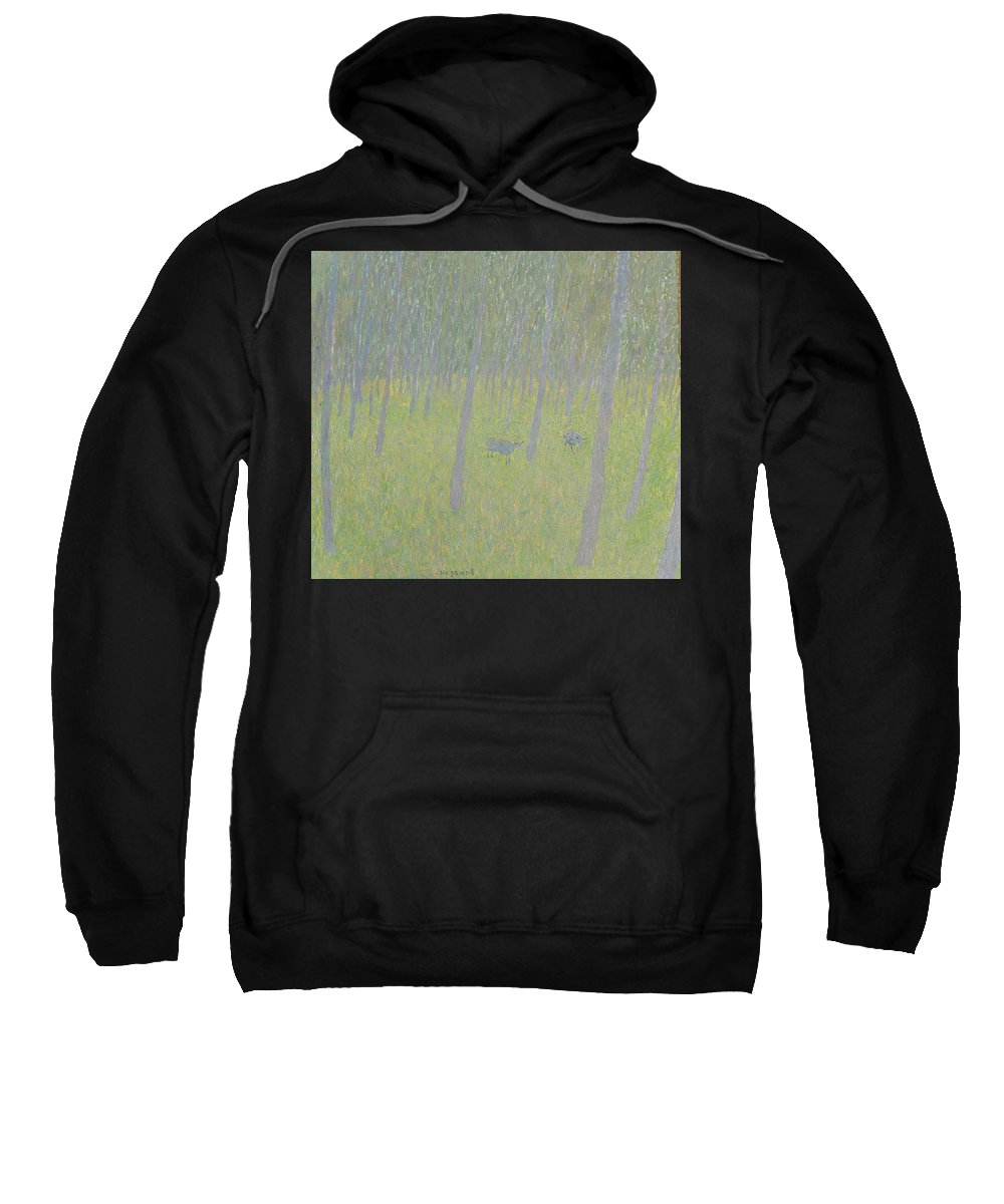 Sheep Sweatshirt featuring the painting Forest by Robert Nizamov