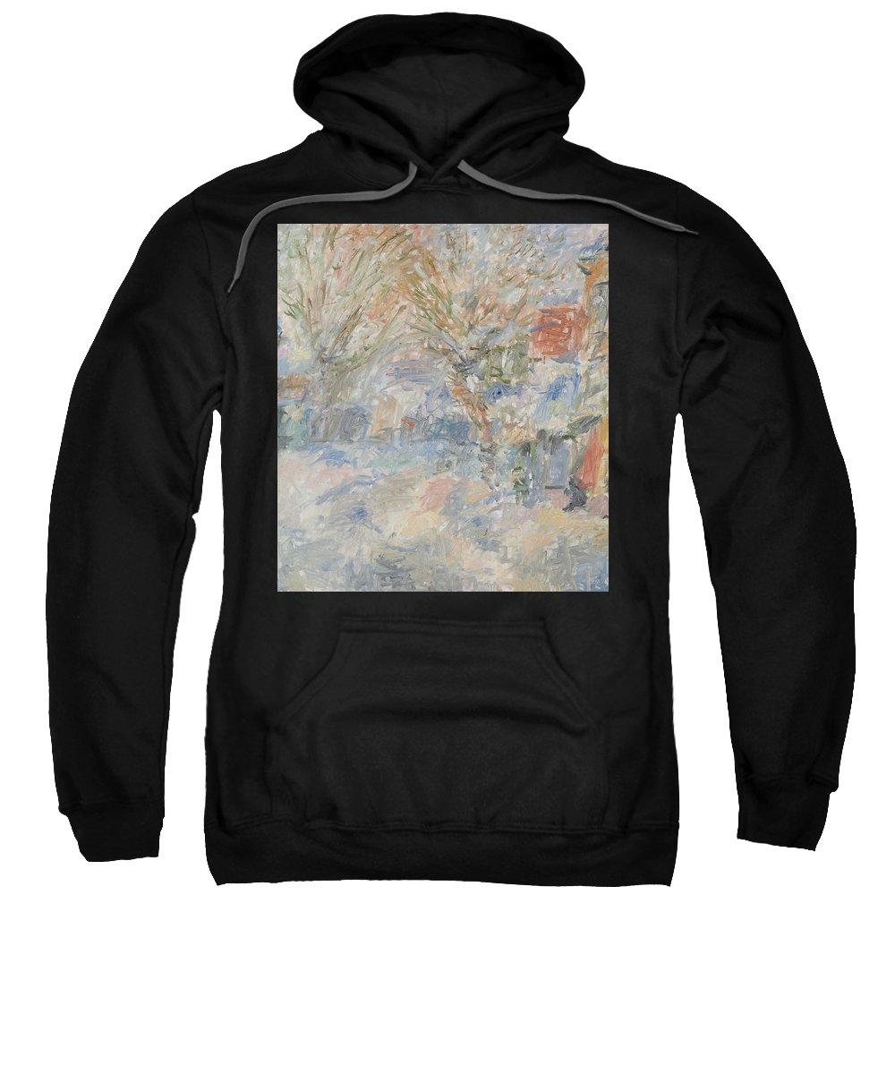 Landscape Sweatshirt featuring the painting Winter by Robert Nizamov