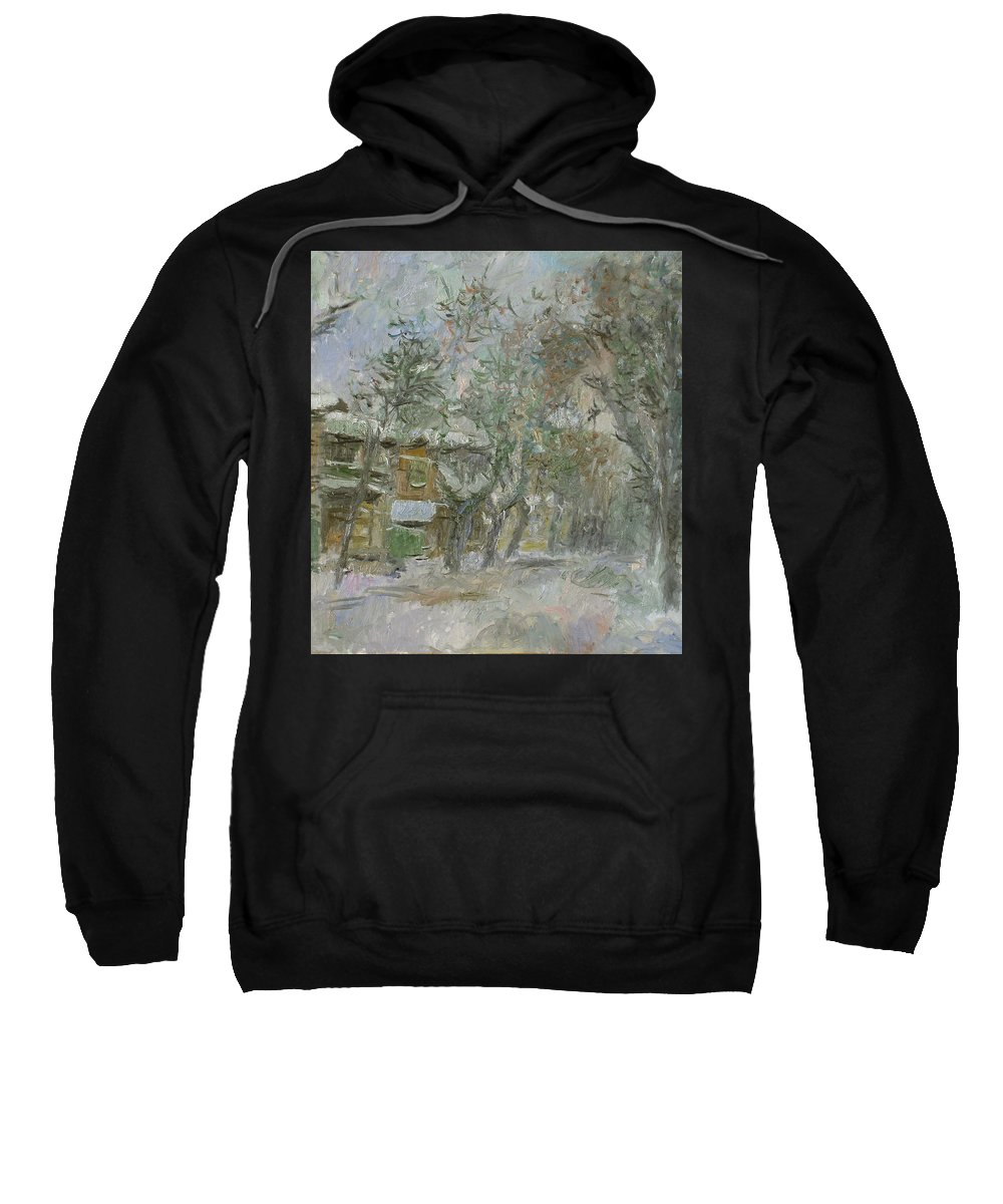 Snow Sweatshirt featuring the painting Landscape by Robert Nizamov