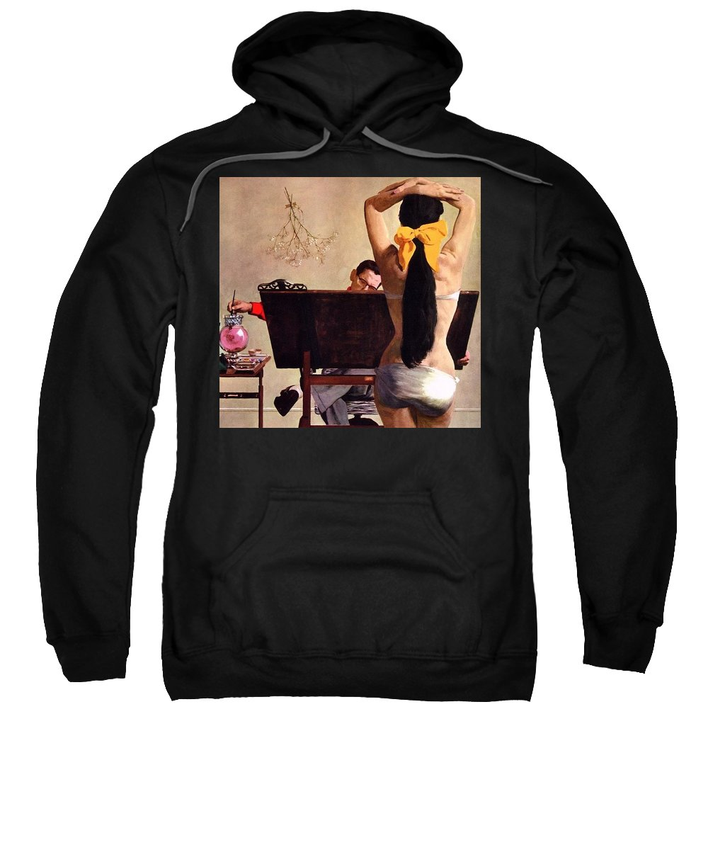 Person Sweatshirt featuring the digital art A Partner In Productive Advertising Alfred Parker by Eloisa Mannion