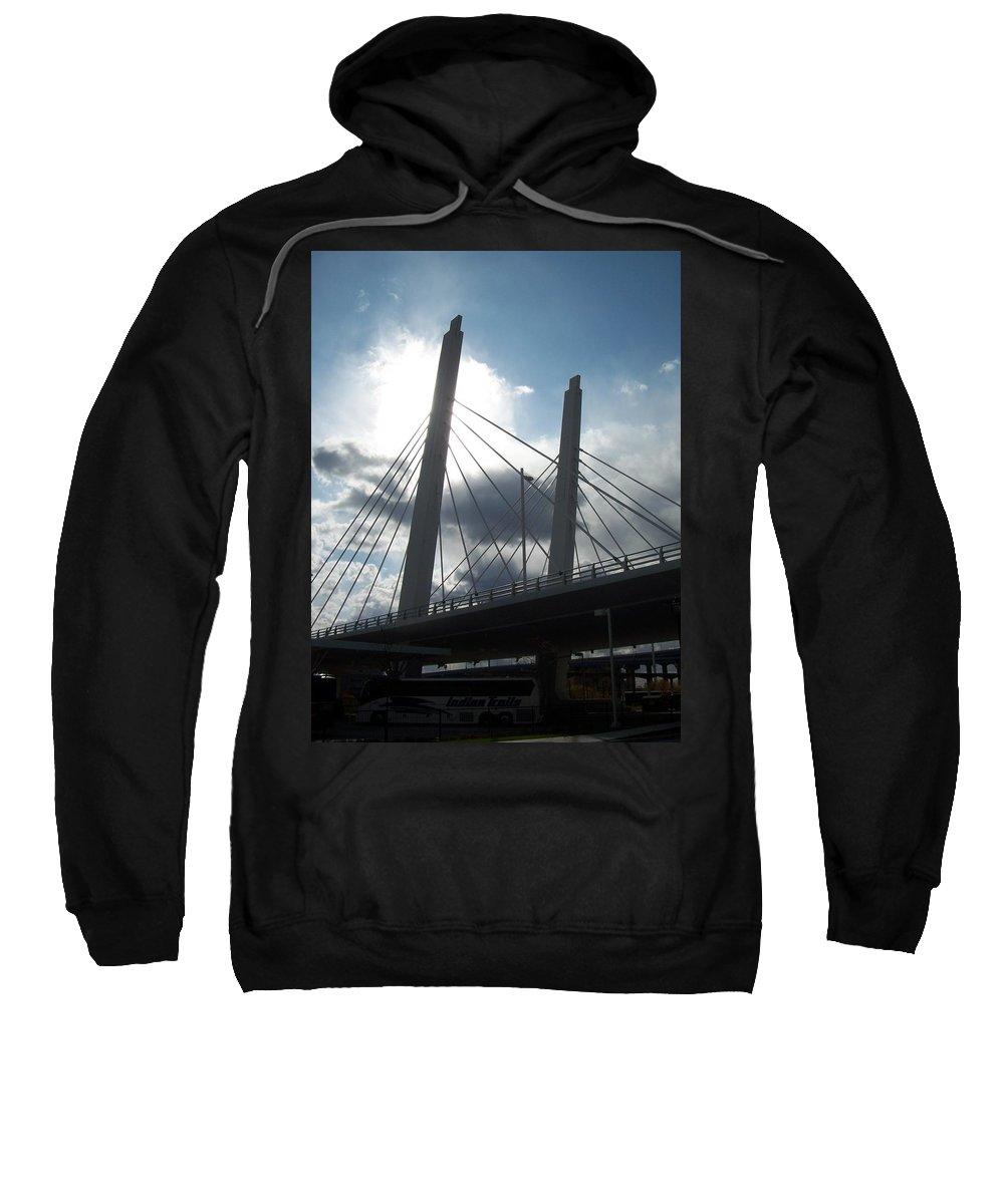 Bridge Sweatshirt featuring the photograph 6th Street Bridge Backlit by Anita Burgermeister