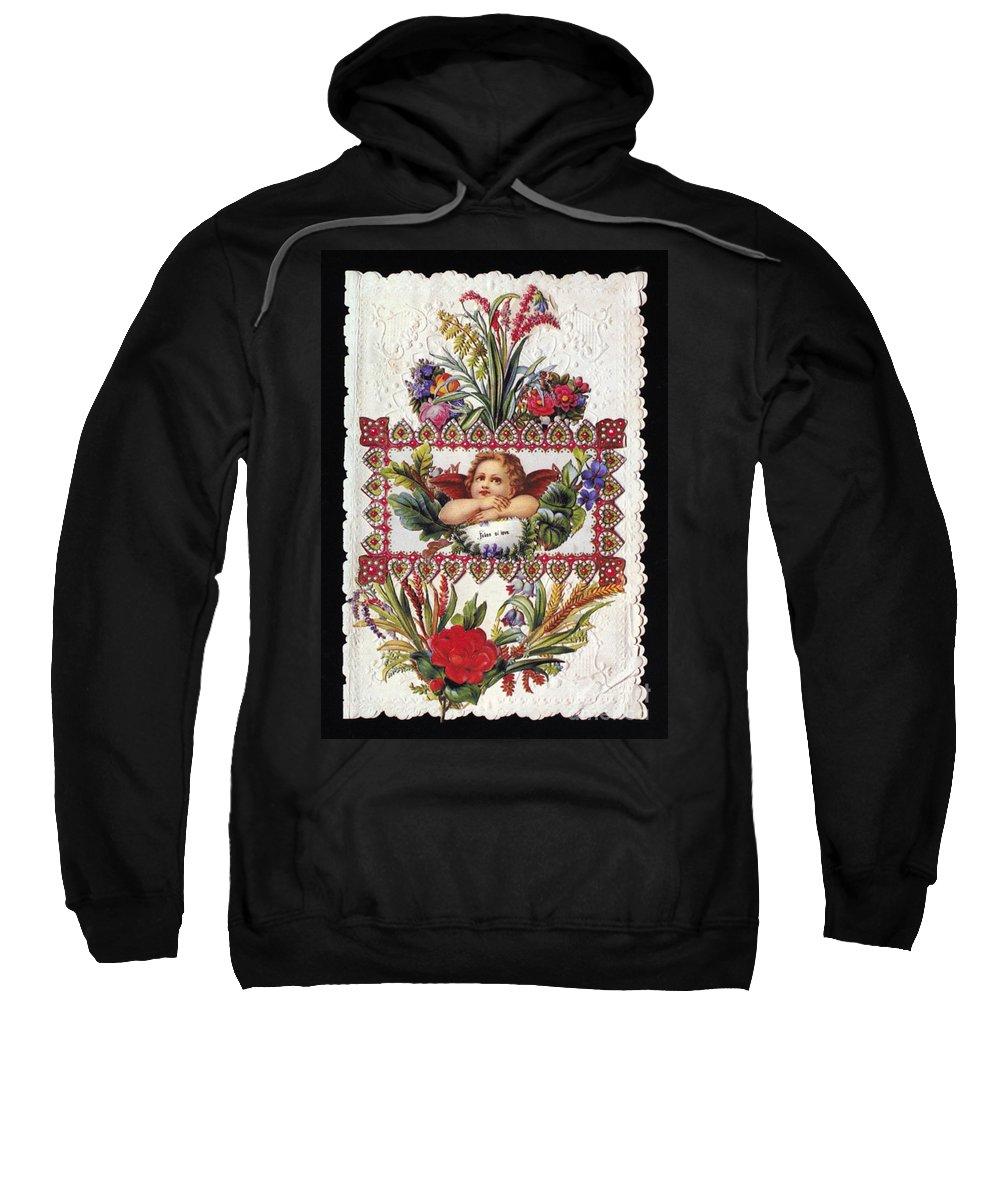 1890 Sweatshirt featuring the photograph Valentines Day Card by Granger