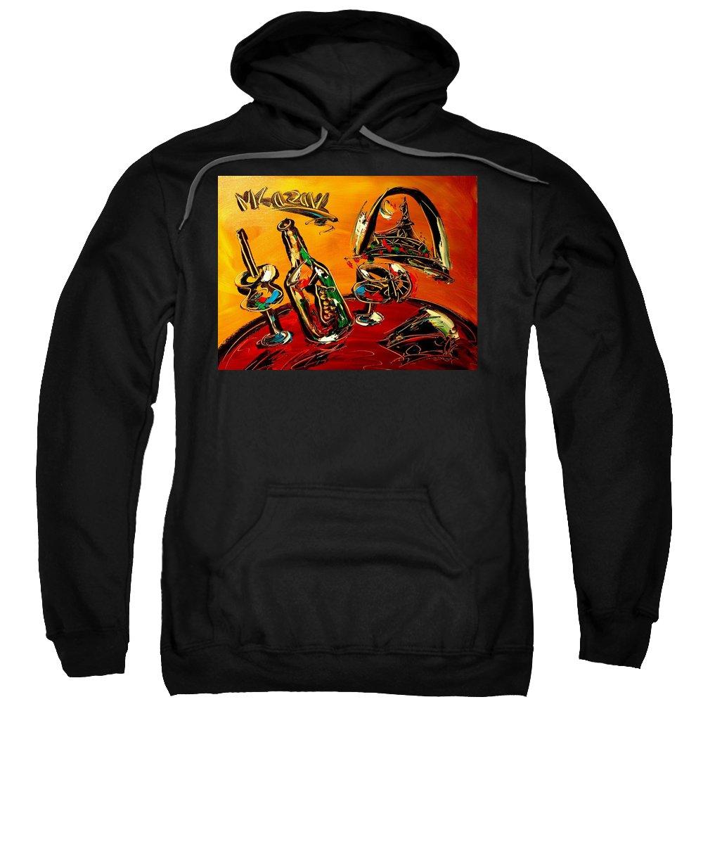 Newyork Sweatshirt featuring the painting Wine by Mark Kazav