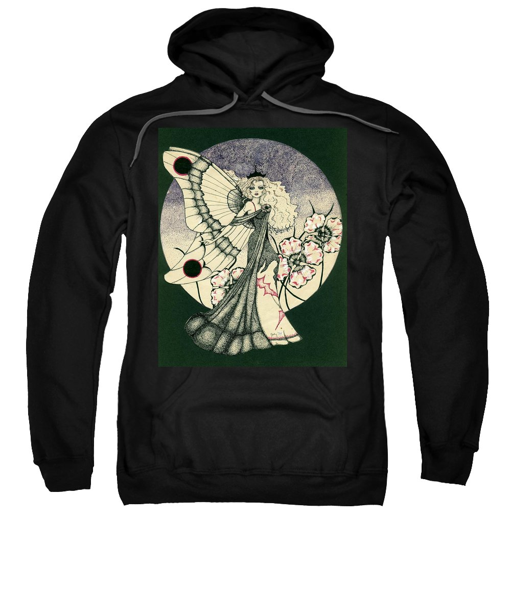 70's Style Sweatshirt featuring the drawing 70's Angel by V Boge