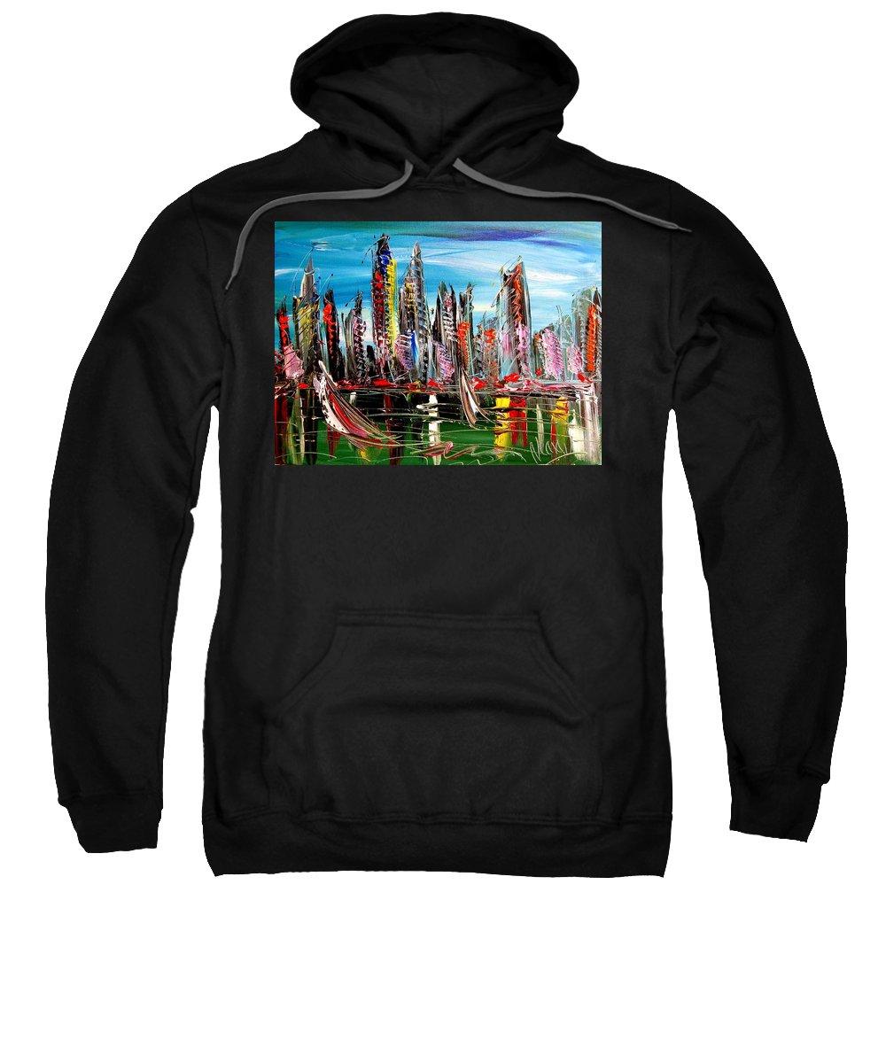 Newyork Sweatshirt featuring the painting New York by Mark Kazav