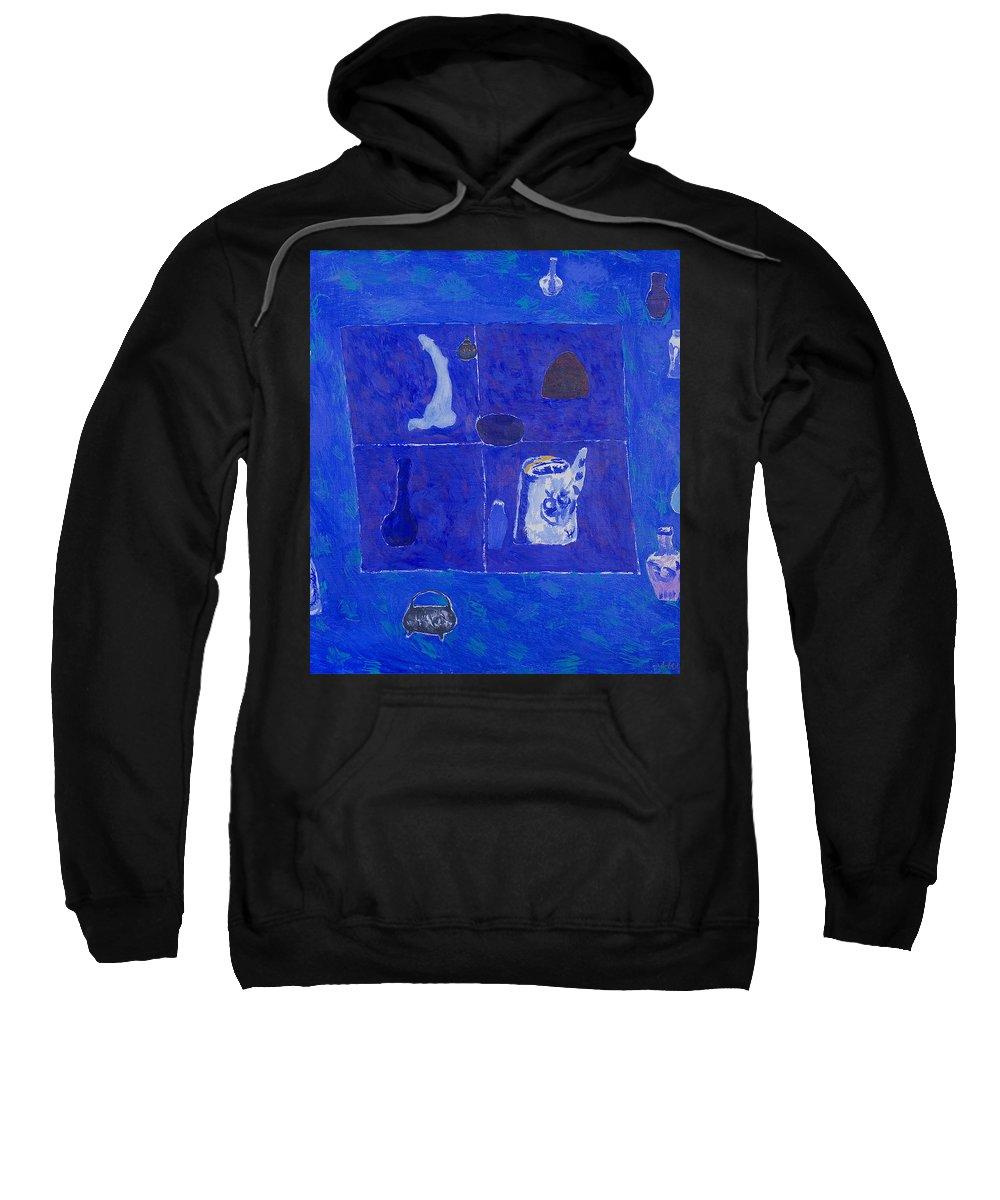 Blue Sweatshirt featuring the painting Still Life by Robert Nizamov