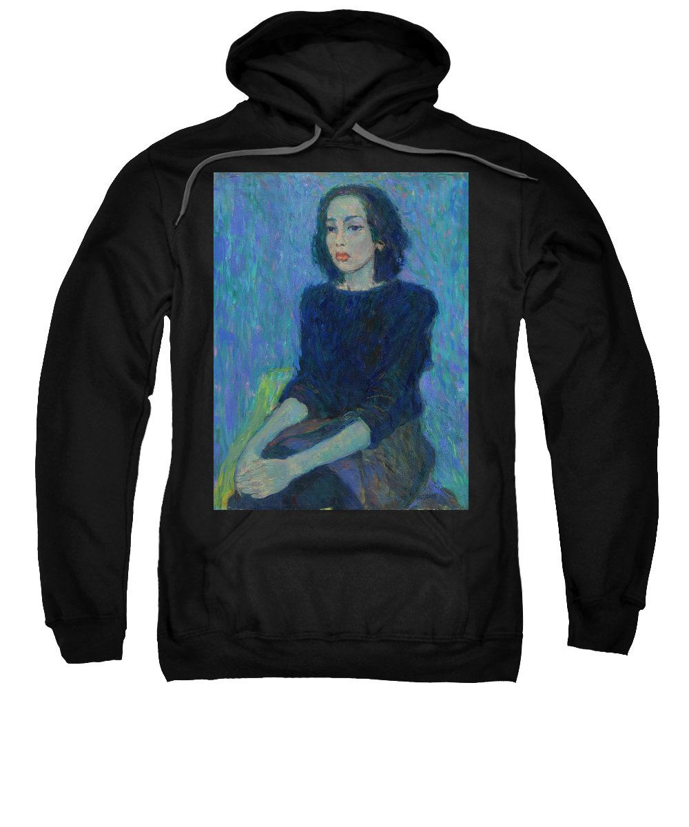 Portrait Sweatshirt featuring the painting Portrait by Robert Nizamov