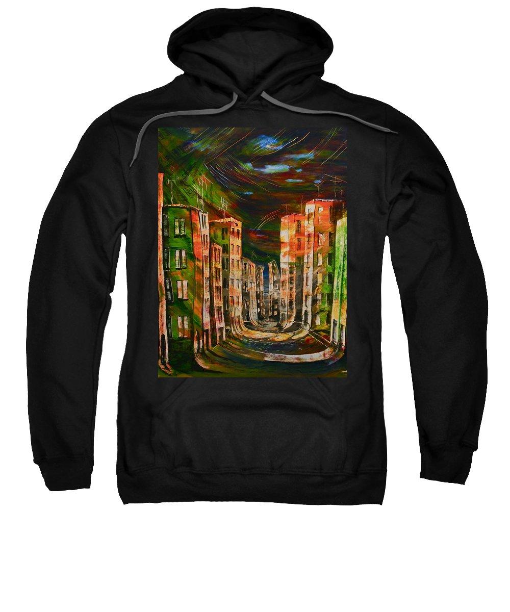 Surrealism Paintings Sweatshirt featuring the painting 9.november 1989 by Carola Eleonore Thiele