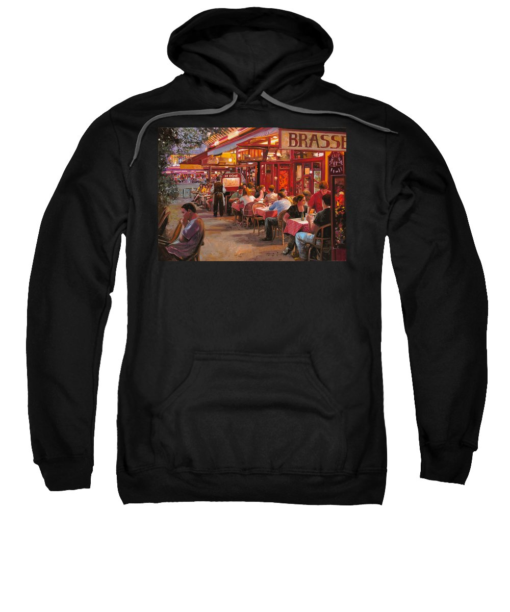 Street Scene Sweatshirt featuring the painting A Cena In Estate by Guido Borelli