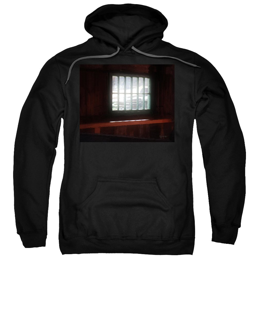 Window Sweatshirt featuring the painting A Dark And Fearsome Place by RC deWinter