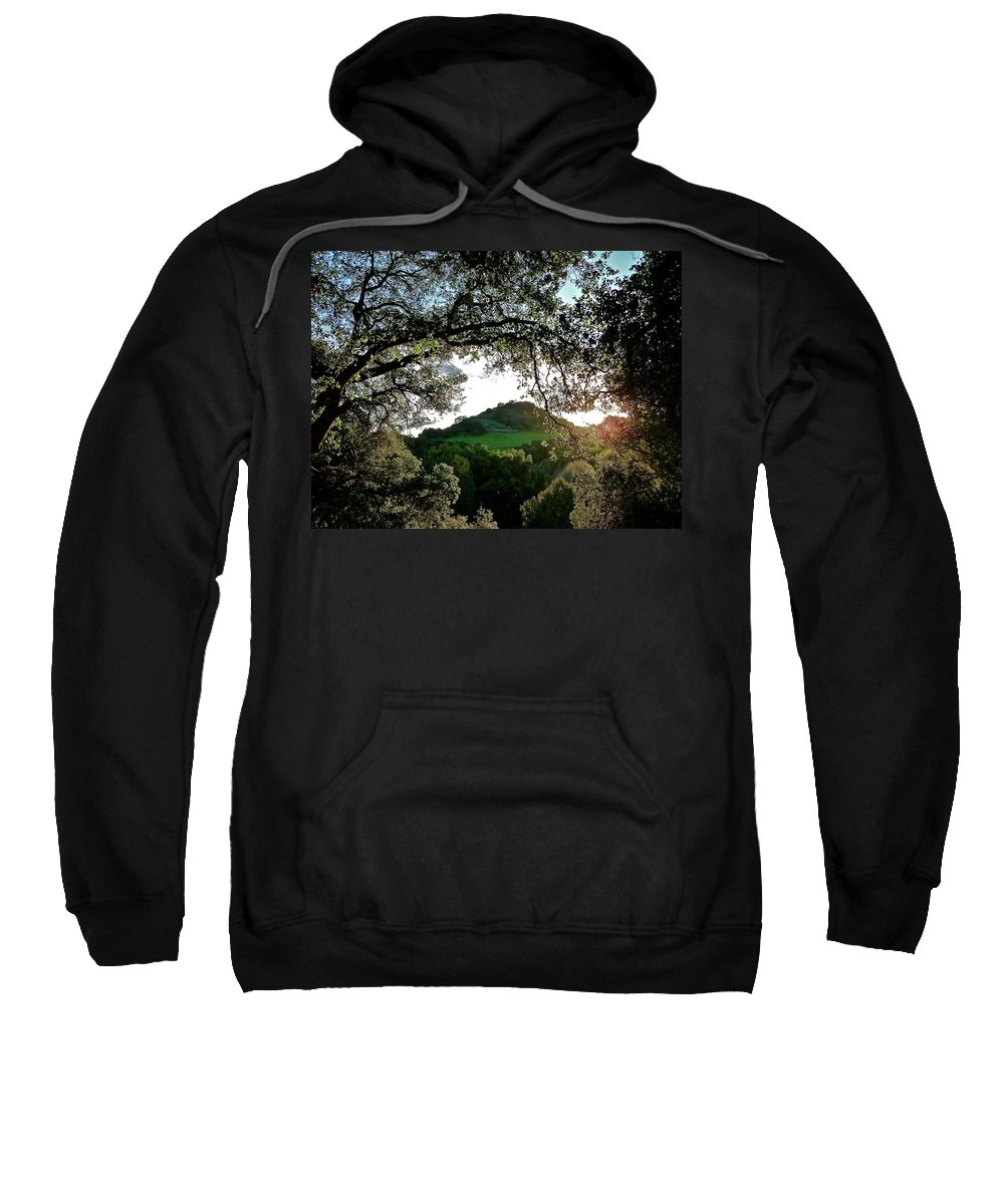 Landscape Sweatshirt featuring the photograph A Distant Cross by Diana Hatcher