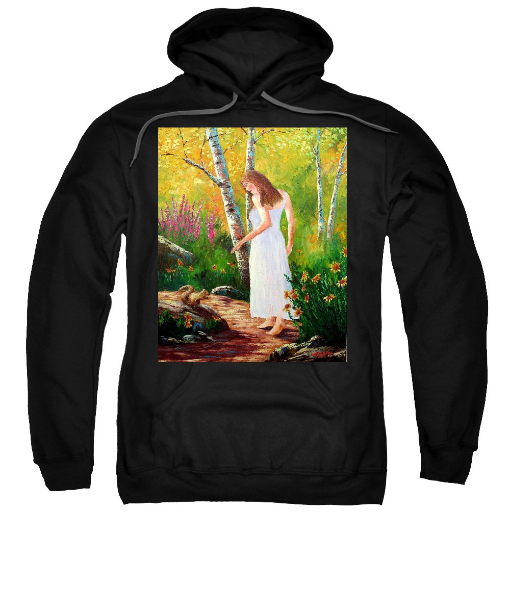 Landscape Sweatshirt featuring the painting A Friendly Greeting by David G Paul