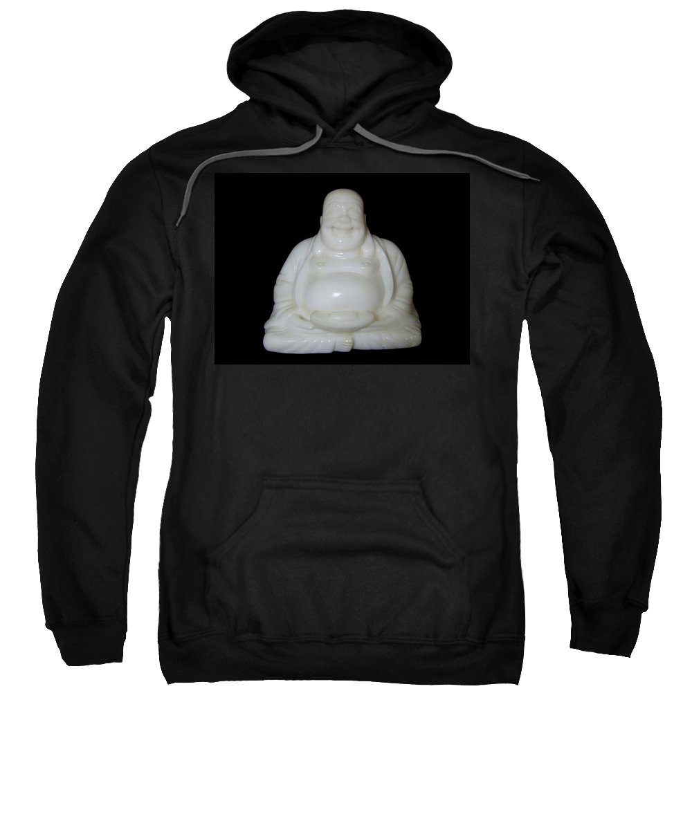 Mary Deal Sweatshirt featuring the photograph A Laughing Buddha Brings Good Luck by Mary Deal