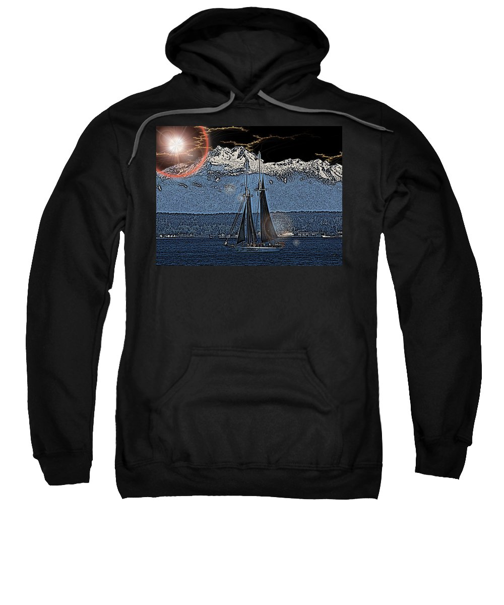 Sail Sweatshirt featuring the digital art A Lightshow To Remember by Tim Allen